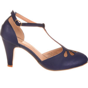 NEW Vintage Pinup T-Strap Heels Pumps in Blueberry